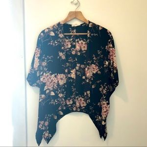 Floral Print Silk Short-Sleeve Kimono Top